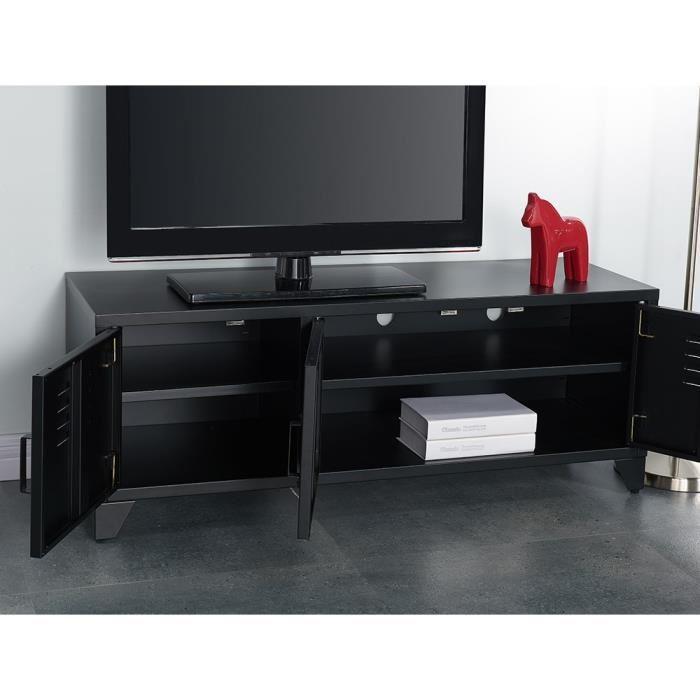 Aucune camden meuble tv 120 cm noir laqu 336471 for Meuble tv noir laque