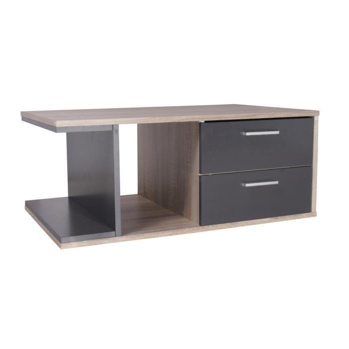 aucune castel table basse chene et gris 80 x 50 cm 310889. Black Bedroom Furniture Sets. Home Design Ideas