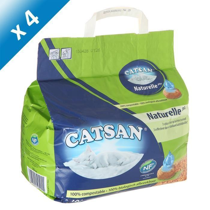 CATSAN Litiere Végétale Plus 10l -x4-