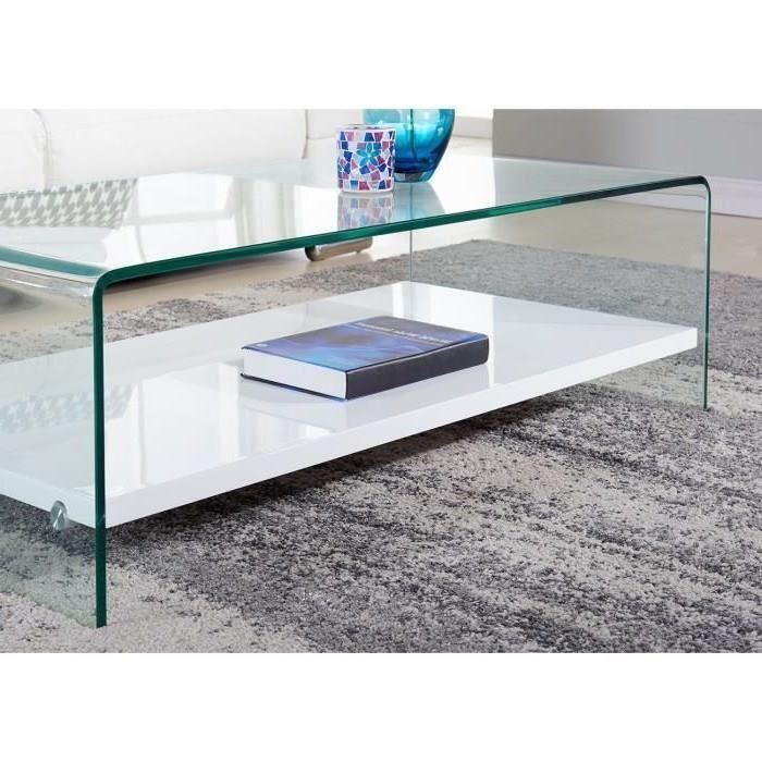 Clear table basse 110cm verre transparent et laqu blanc - Table basse laque blanc brillant ...
