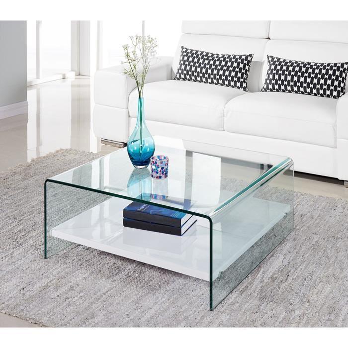 clear table basse 80cm verre transparent et laqu blanc brillant 305078. Black Bedroom Furniture Sets. Home Design Ideas