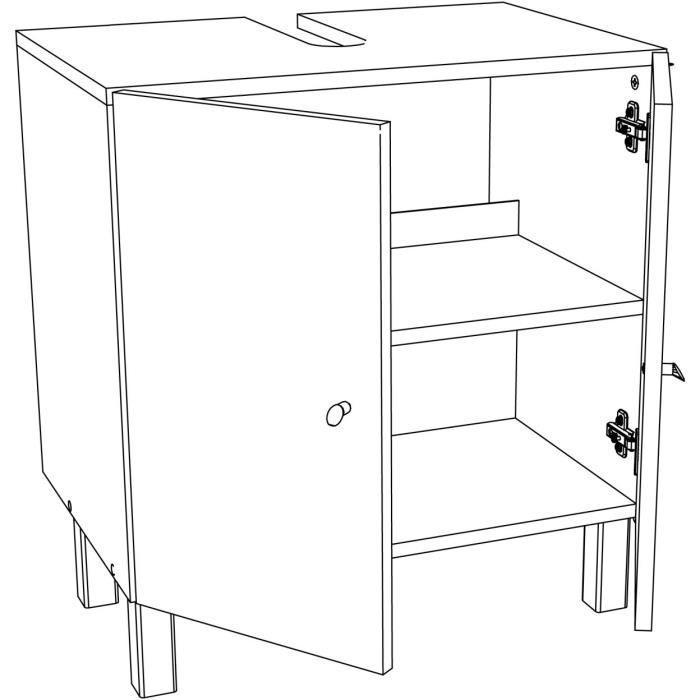 Aucune corail meuble sous lavabo 60 cm noir 250894 - Meuble sous lavabo noir ...