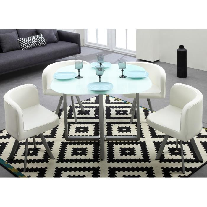 cosmic ensemble repas coloris blanc 5 pieces 1 table a manger 4 chaises 267486. Black Bedroom Furniture Sets. Home Design Ideas