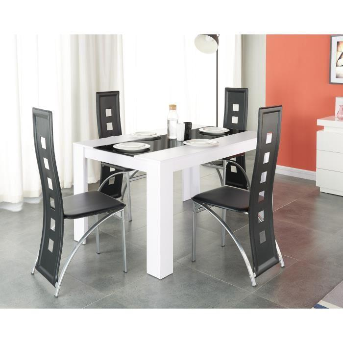 Damia ensemble table a manger 140x90 cm 4 chaises en for Ensemble table et chaise noir et blanc