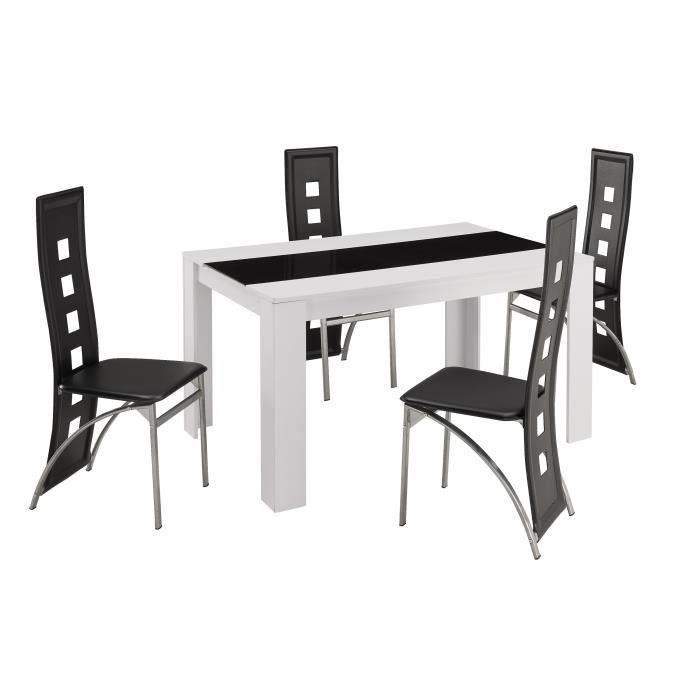 damia ensemble table a manger 140x90 cm 4 chaises en simili blanc et noir ebay. Black Bedroom Furniture Sets. Home Design Ideas