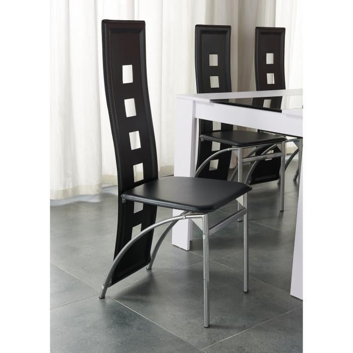 damia ensemble table a manger 140x90 cm 4 chaises en simili blanc et noir 380610. Black Bedroom Furniture Sets. Home Design Ideas