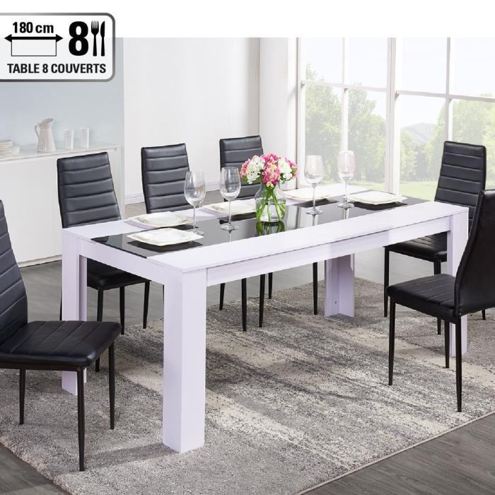 aucune damia table a manger 180x75 cm blanc et noir 315064