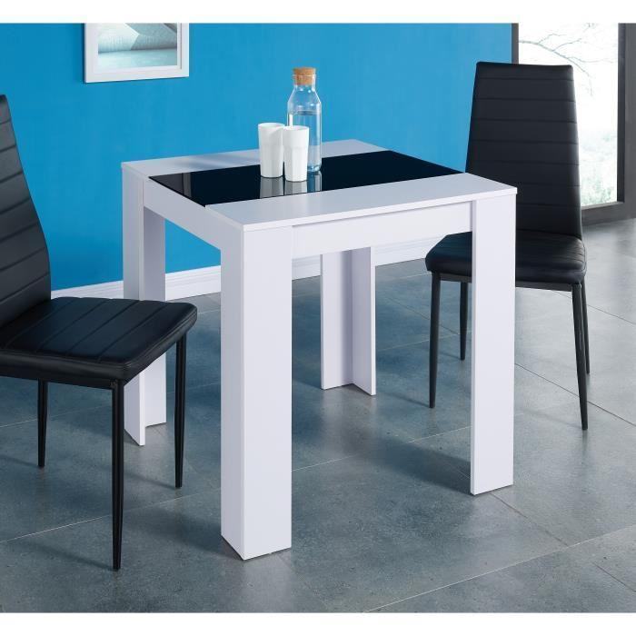 aucune damia table a manger 75x75 cm blanc et noir 367165. Black Bedroom Furniture Sets. Home Design Ideas