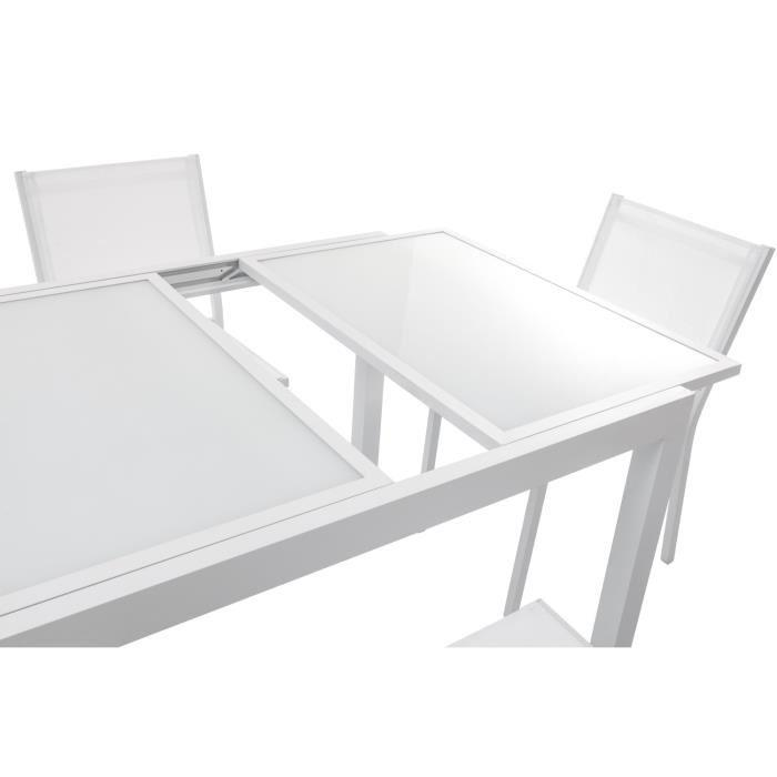 Beautiful salon de jardin aluminium verre trempe for Table verre blanc extensible
