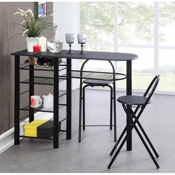 first ensemble repas coloris noir 3 pieces 1 table bar 2 chaises 255979. Black Bedroom Furniture Sets. Home Design Ideas