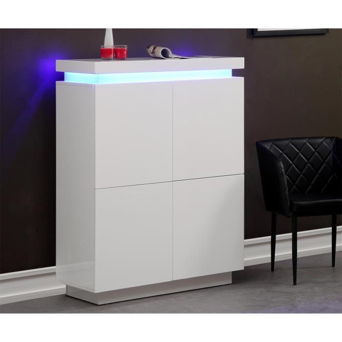 Aucune - FLASH Buffet haut blanc laque avec led bleue 288107