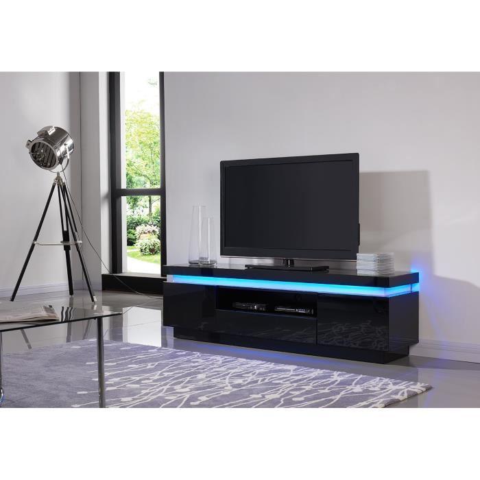 aucune flash meuble tv laqu noir 165cm avec leds multicolores 300754. Black Bedroom Furniture Sets. Home Design Ideas