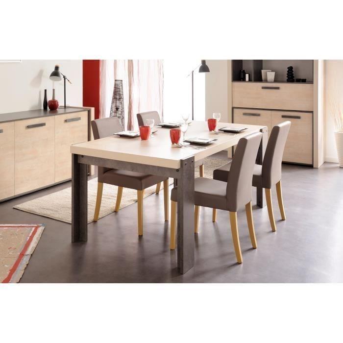fox table a manger 6 personnes 180x94 cm decor pin cendre et beton fonce 431400. Black Bedroom Furniture Sets. Home Design Ideas