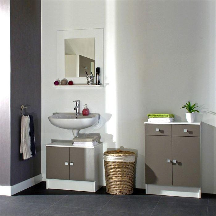 aucune galet meuble sous lavabo 60 cm blanc et taupe 300547. Black Bedroom Furniture Sets. Home Design Ideas
