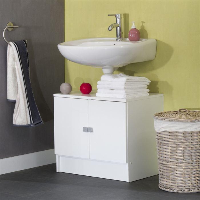 Aucune galet meuble sous lavabo 60cm blanc 2 portes 250882 for Anatomie du meuble