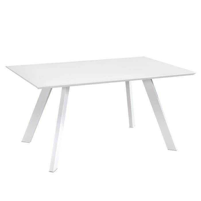 aucune hampton table a manger 6 personnes 150x90 cm blanc mat 389747. Black Bedroom Furniture Sets. Home Design Ideas