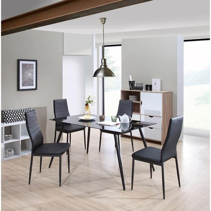 aucune home ensemble repas 1 table a manger 4 chaises noir 270062. Black Bedroom Furniture Sets. Home Design Ideas