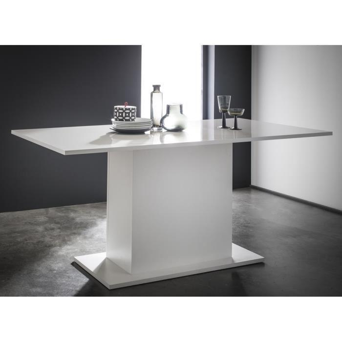 aucune icy table a manger avec pied central 170cm blanc brillant 277343. Black Bedroom Furniture Sets. Home Design Ideas