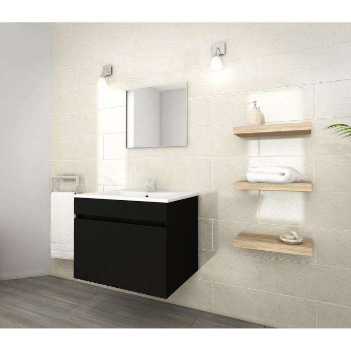 lana ensemble de meubles de salle de bain vasque miroir meuble sous vasque 60 cm noir. Black Bedroom Furniture Sets. Home Design Ideas