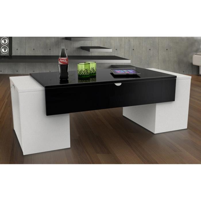 aucune lucky table basse 123 cm noir et blanc haute brillance 281557. Black Bedroom Furniture Sets. Home Design Ideas