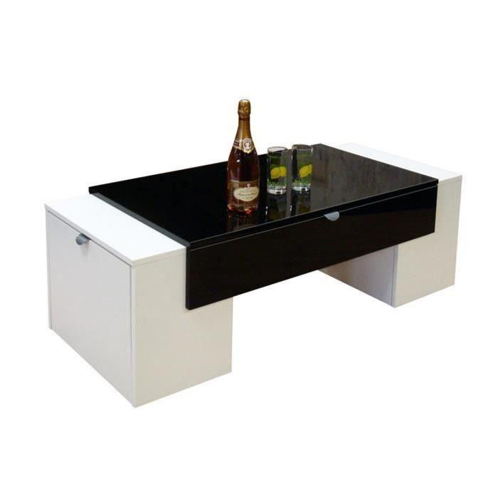 aucune lucky table basse 123 cm noir et blanc haute brillance 281557. Black Bedroom Furniture Sets. Home Design Ideas
