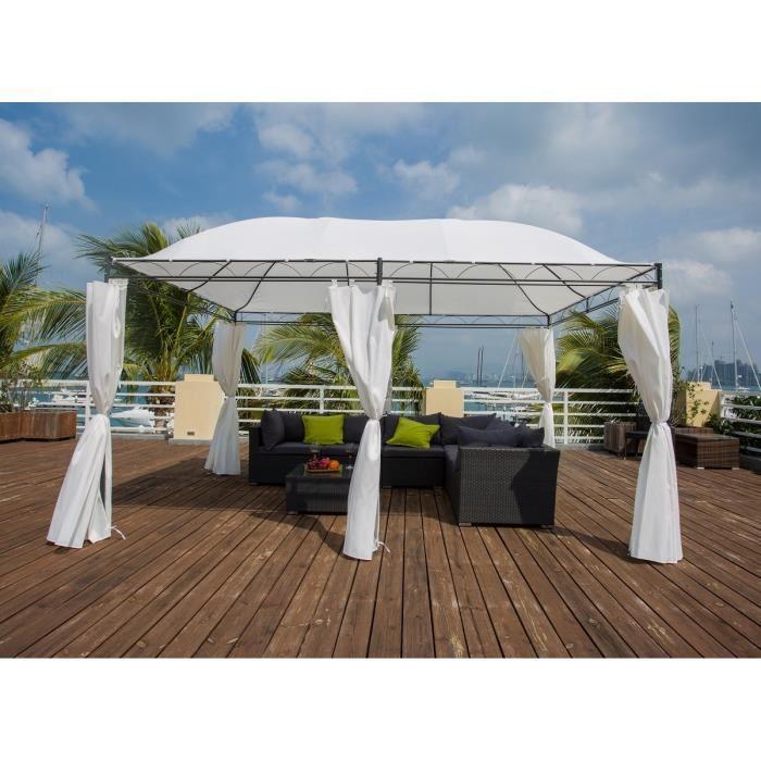 aucune malte tonnelle acier 4 x 3m tissu polyester blanc 320207. Black Bedroom Furniture Sets. Home Design Ideas