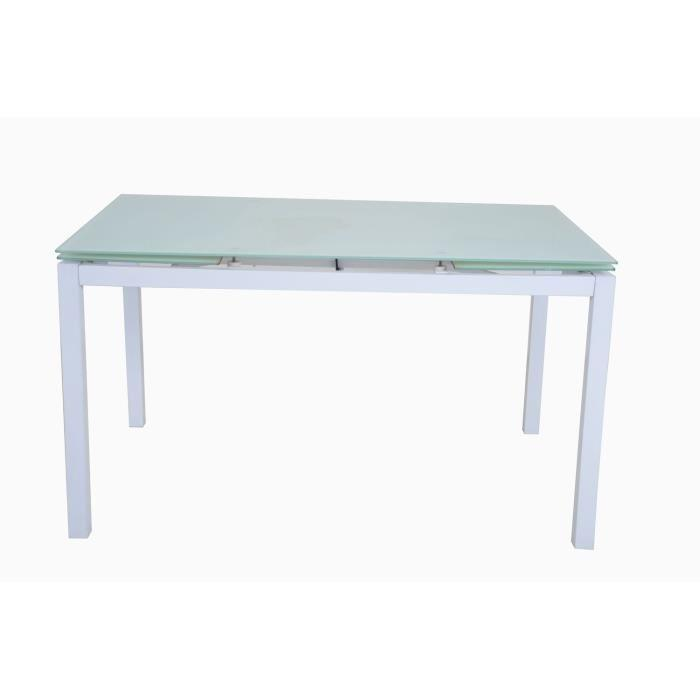 Aucune max table extensible 140 220cm m tal verre for Table verre blanc extensible