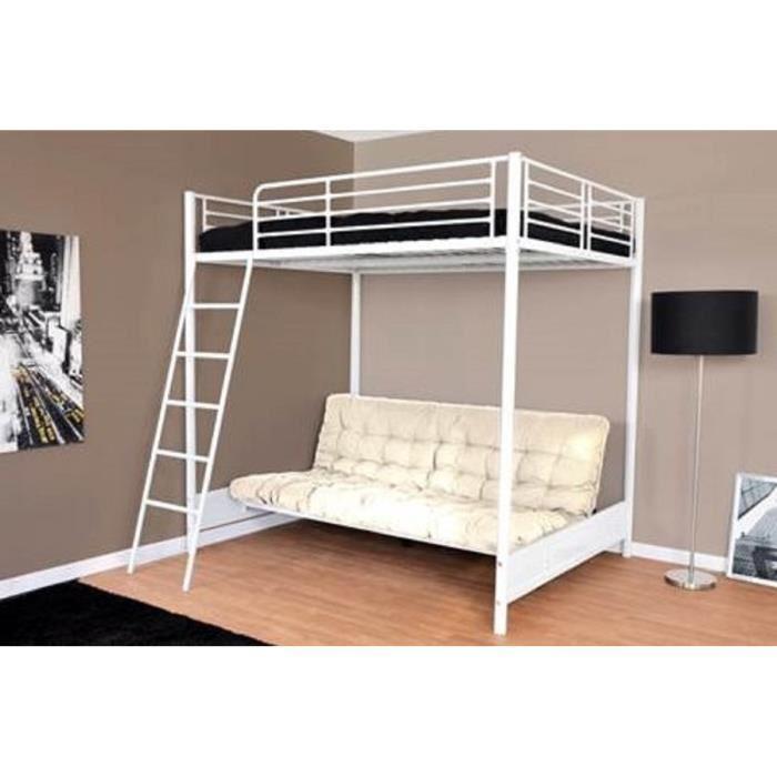 mezzaclic lit mezzanine 140x190 cm sommiers banquette lit avec matelas blanc 306395. Black Bedroom Furniture Sets. Home Design Ideas