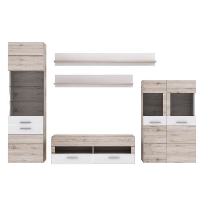aucune nabou meuble tv mural 319x207 cm chene cendr 275709. Black Bedroom Furniture Sets. Home Design Ideas