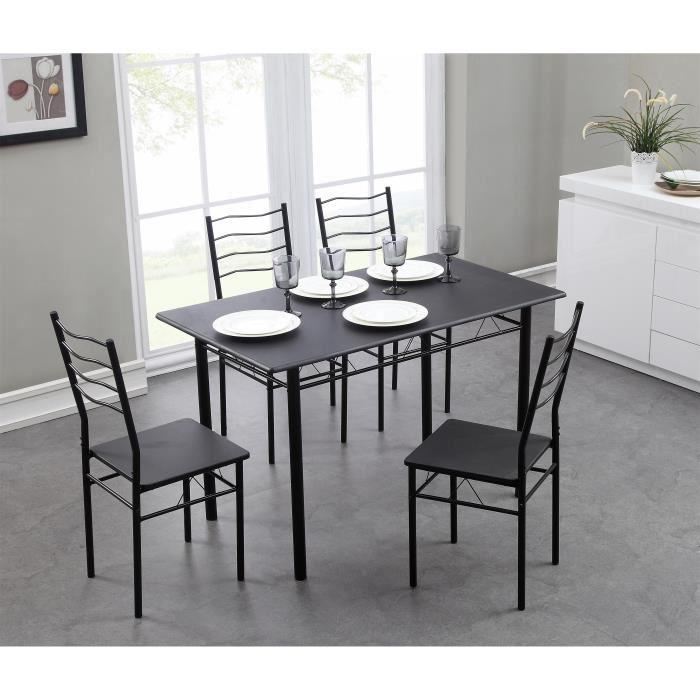 Nina ensemble table a manger 120x70 cm 4 chaises coloris for Table cuisine 70 x 120