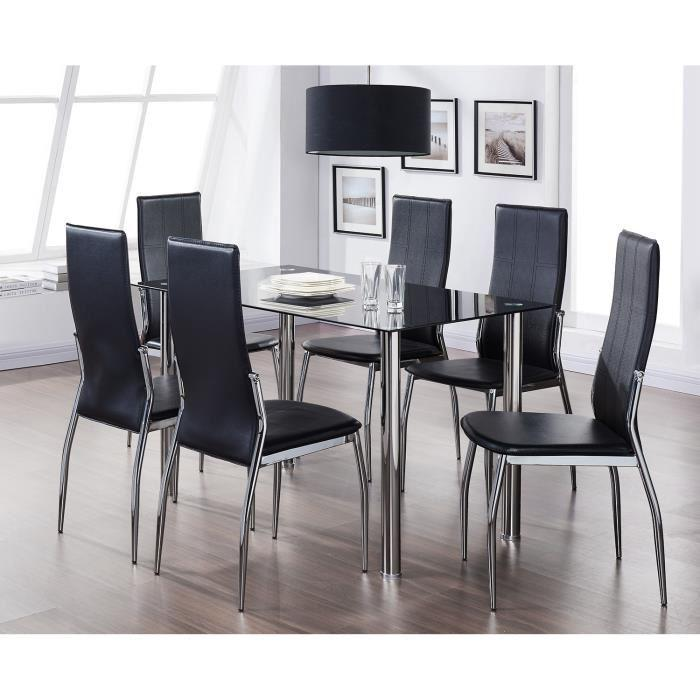 Noria ensemble table a manger 6 chaises en simili noir - Ensemble table a manger ...