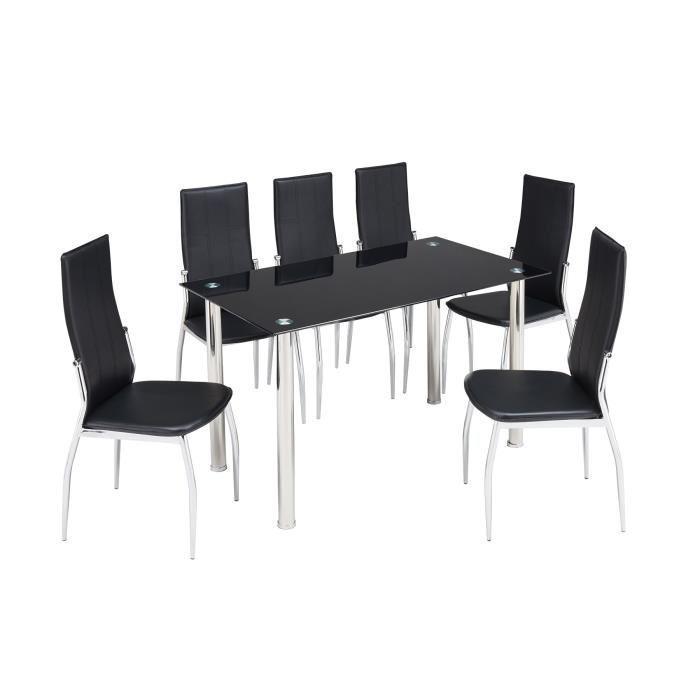 Noria ensemble table a manger 6 chaises en simili noir for Ensemble table a manger
