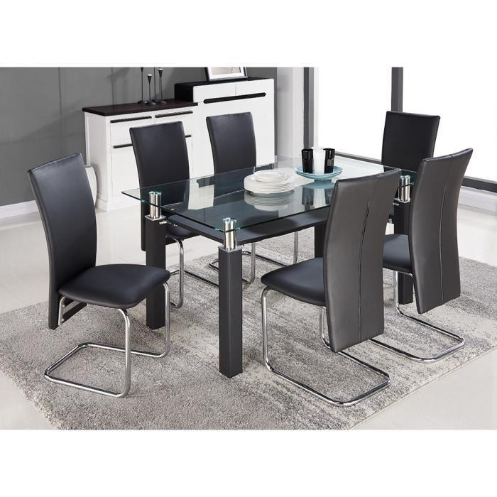 pacific ensemble table a manger 6 chaises en simili noir 150x90cm 300115. Black Bedroom Furniture Sets. Home Design Ideas