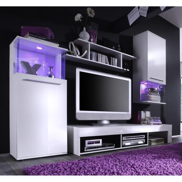 punch meuble tv mural 228cm coloris blanc mat et brillant led couleur changeante 275340. Black Bedroom Furniture Sets. Home Design Ideas