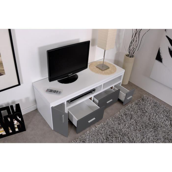 aucune slide meuble tv extensible 111 189 cm blanc et gris 312638. Black Bedroom Furniture Sets. Home Design Ideas