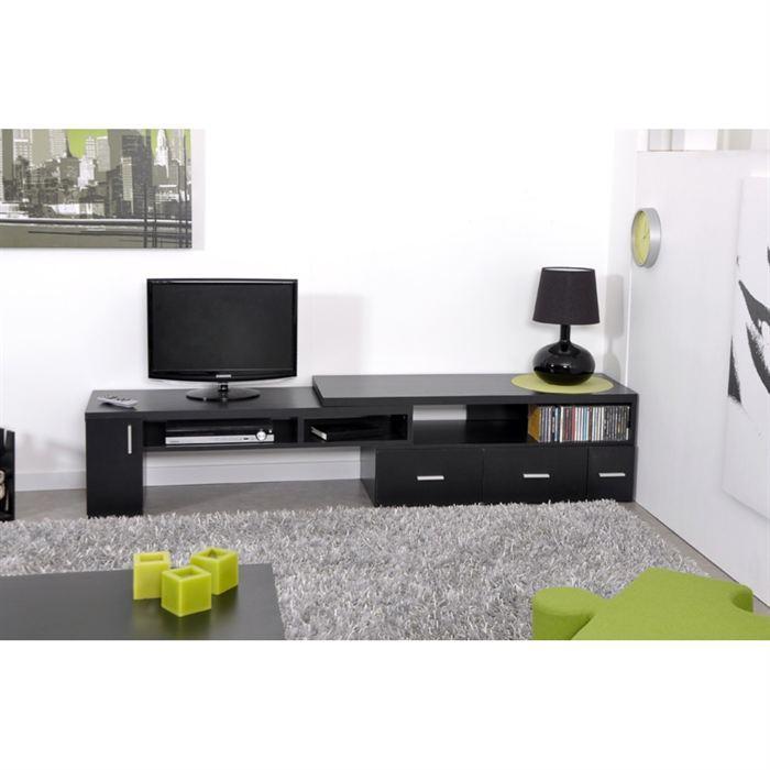 aucune slide meuble tv extensible noir 265741. Black Bedroom Furniture Sets. Home Design Ideas