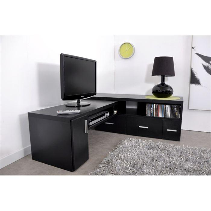 aucune slide meuble tv extensible noir 265741. Black Bedroom Furniture Sets. Home Design Ideas