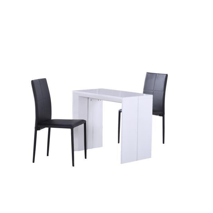 aucune tack table console extensible 48 250x90cm blanc laqu 292377. Black Bedroom Furniture Sets. Home Design Ideas