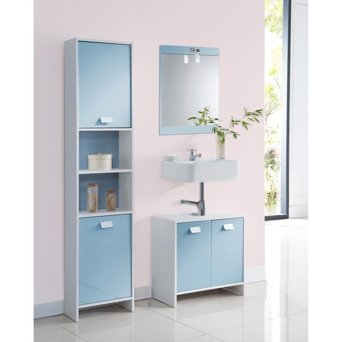 aucune top meuble sous vasque 60 cm blanc et bleu 380489. Black Bedroom Furniture Sets. Home Design Ideas
