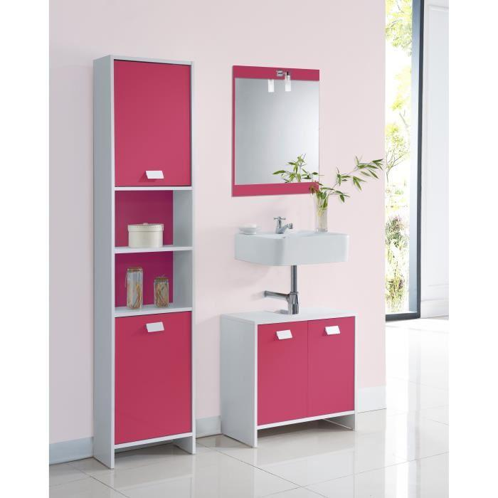 aucune top meuble sous vasque 60 cm blanc et fuchsia 380487. Black Bedroom Furniture Sets. Home Design Ideas