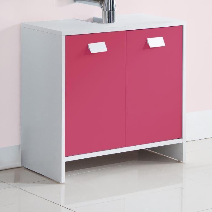 Aucune top meuble sous vasque 60 cm blanc et fuchsia - Meuble vasque 60 cm ...