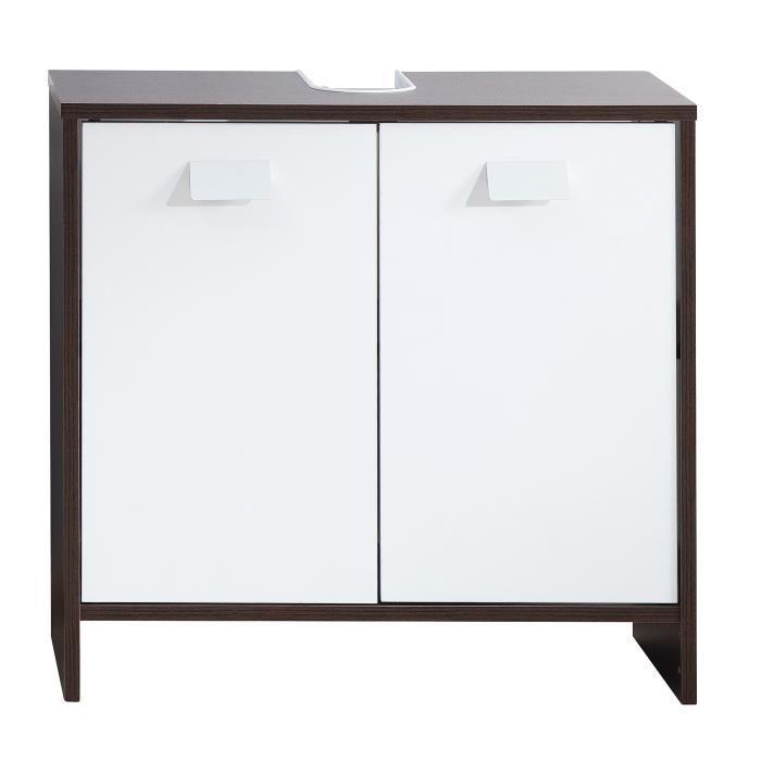 Aucune top meuble sous vasque 60 cm weng et blanc 380787 - Meuble sous vasque wenge ...