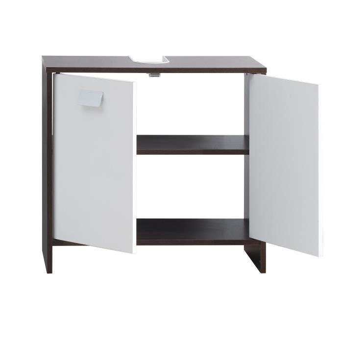 aucune top meuble sous vasque 60 cm weng et blanc 380787. Black Bedroom Furniture Sets. Home Design Ideas