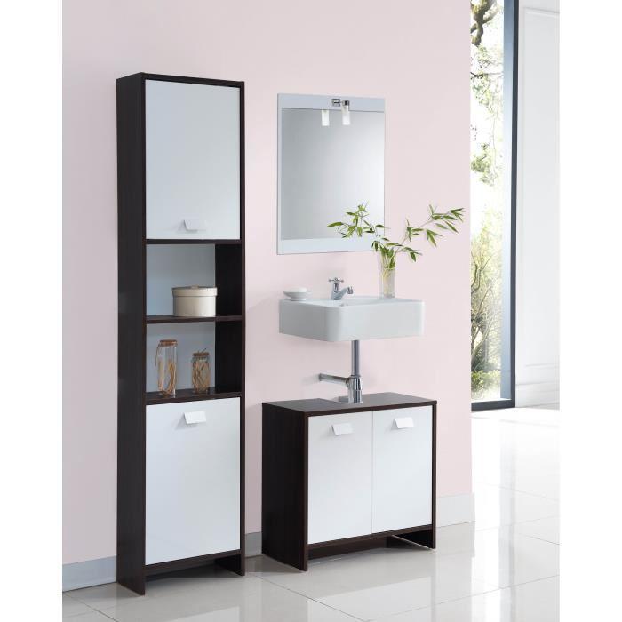 Aucune top meuble sous vasque 60 cm weng et blanc 380787 for Meuble sous vasque wenge