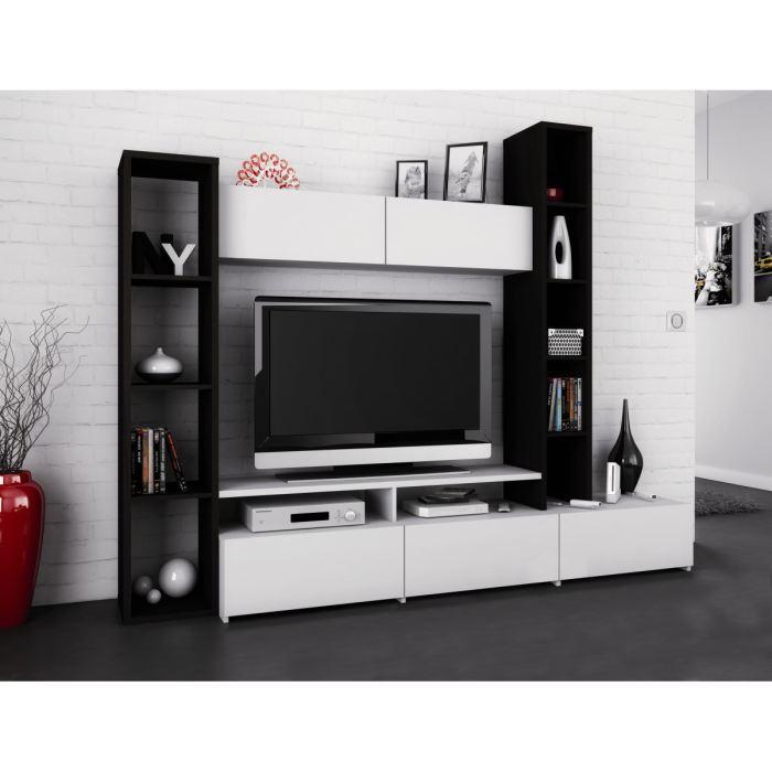 Aucune wall meuble tv mural 211 cm bene blanc 265731 for Meuble hifi mural wall