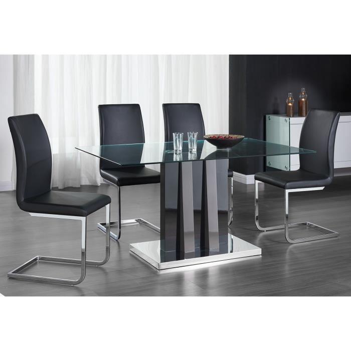 aucune yumi ensemble table a manger 4 chaises en simili 150x90cm 301712. Black Bedroom Furniture Sets. Home Design Ideas