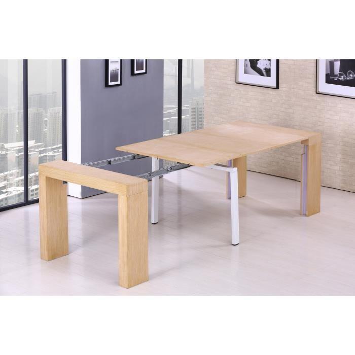 aucune zack table console extensible 45 250x90cm d cor chene 292380. Black Bedroom Furniture Sets. Home Design Ideas