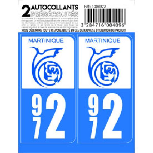 Autocollant departement 972 - MARTINIQUE -x2-