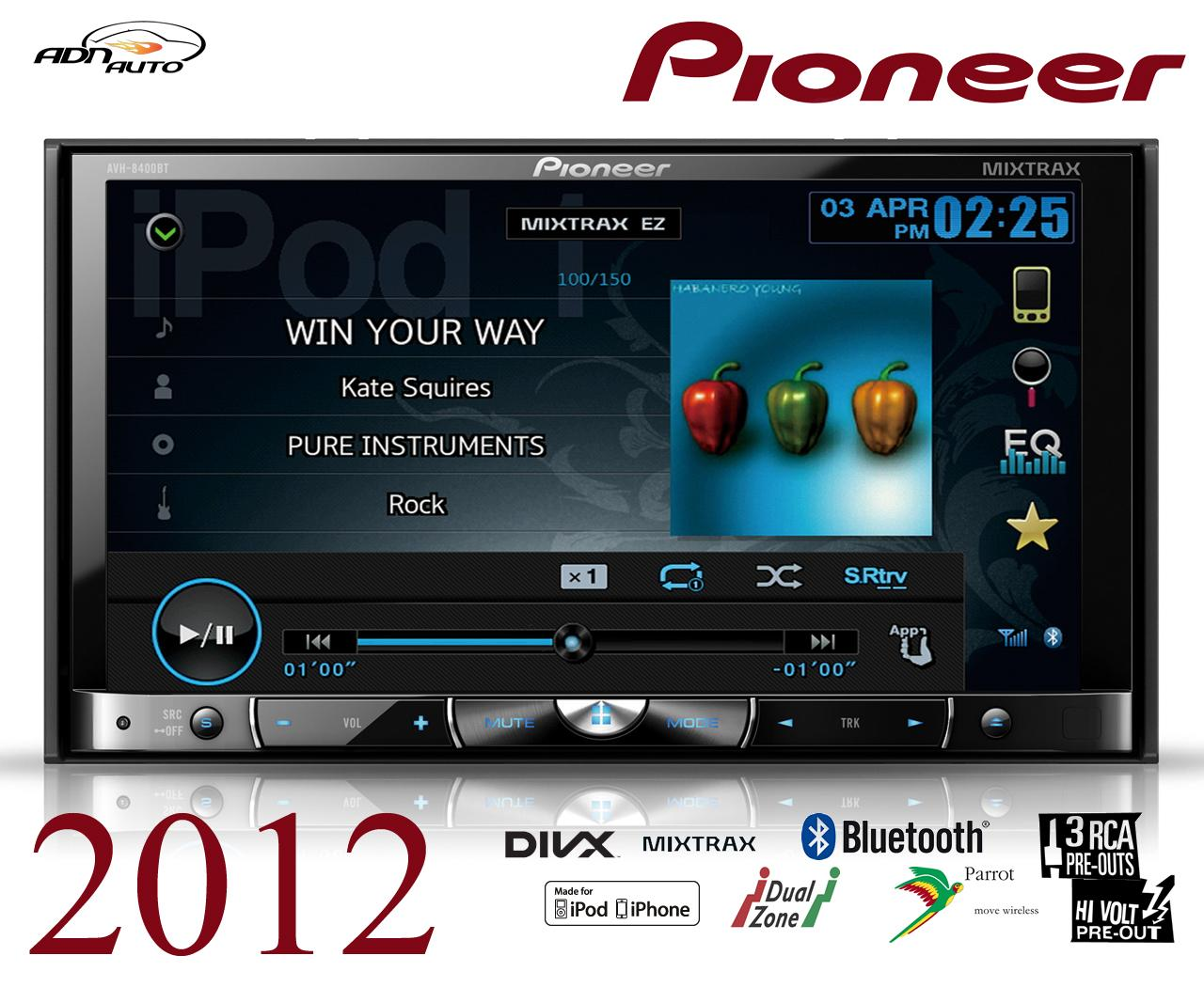 autoradio dvd pioneer avh 8400bt 2din 147360. Black Bedroom Furniture Sets. Home Design Ideas