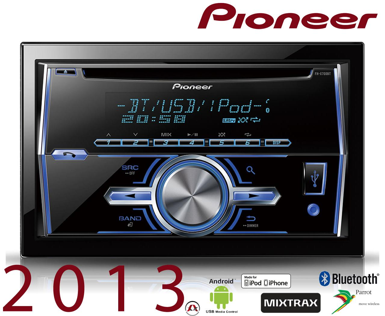 autoradio cd et mp3 pioneer fh x700bt 192310. Black Bedroom Furniture Sets. Home Design Ideas